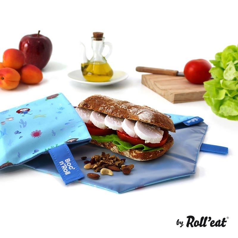 Ambalaj reutilizabil pentru sandwich Boc'n'Roll Kids, model Ocean