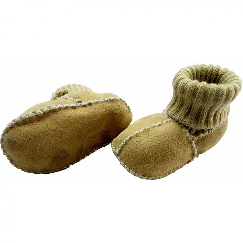 Botosei piele si blanita miel Altabebe, mansete tricotate, marimea 16, crem 2021 shopu.ro