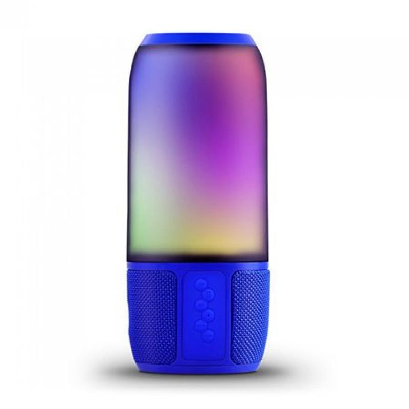 Boxa bluetooth luminata LED RGB, 2 x 3 W, USB/MSD/AUX, Albastru 2021 shopu.ro
