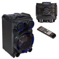 Boxa bluetooth portabila Ibiza Sound, 400 W, 12 V, AUX, microfon inclus, lumina LED