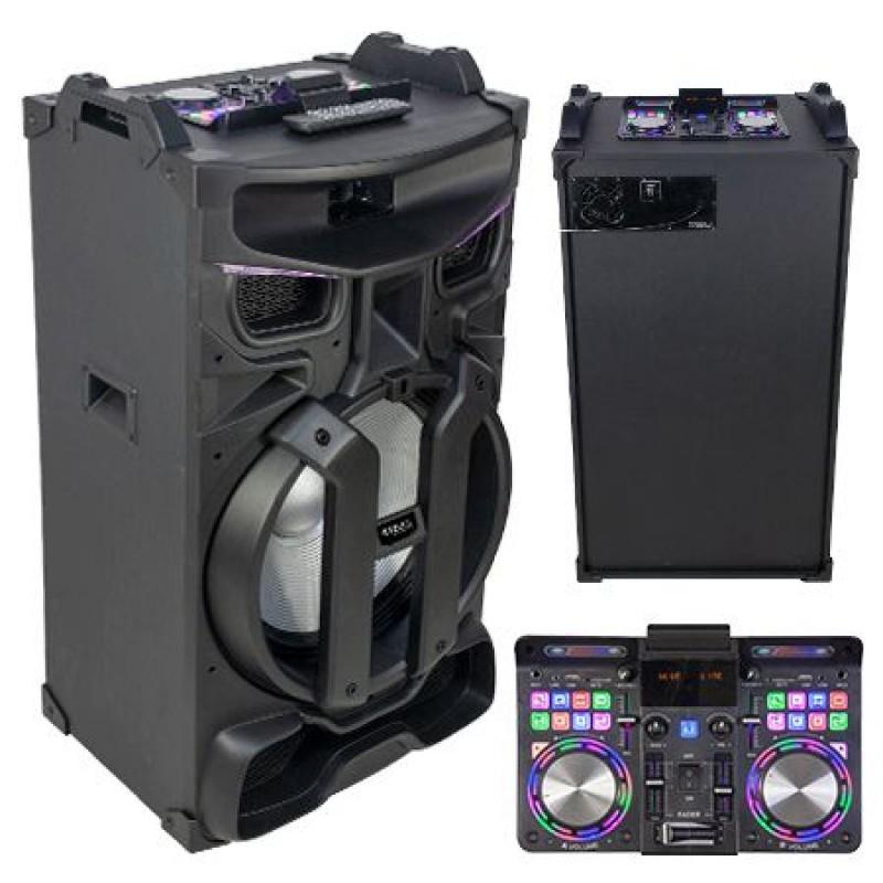 Boxa portabila, 46 cm, iluminata, 450 W, negru 2021 shopu.ro