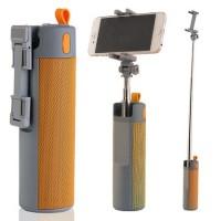 Boxa portabila 3 in1 cu selfie stick si powerbank, 10 W,  Gri/Portocaliu