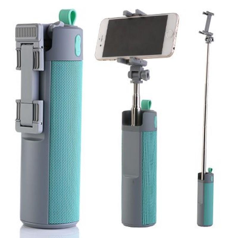 Boxa portabila 3 in1 cu selfie stick si powerbank, 10 W, Gri/Turcoaz 2021 shopu.ro