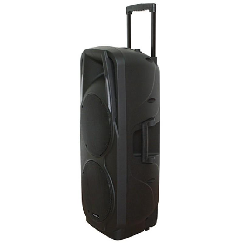 Boxa portabila activa 2 x 10 inch, 2 microfoane, USB, SD, BT, VHF, 300 W 2021 shopu.ro