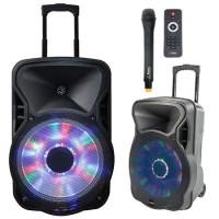 Boxa portabila 12 inch, iluminata, microfon wireless VHF, USB, SD, BT, FM, 300 W