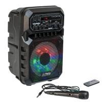 Boxa portabila iluminata LED, 15 W, 1800 mAh, USB, cititor microSD, microfon inclus