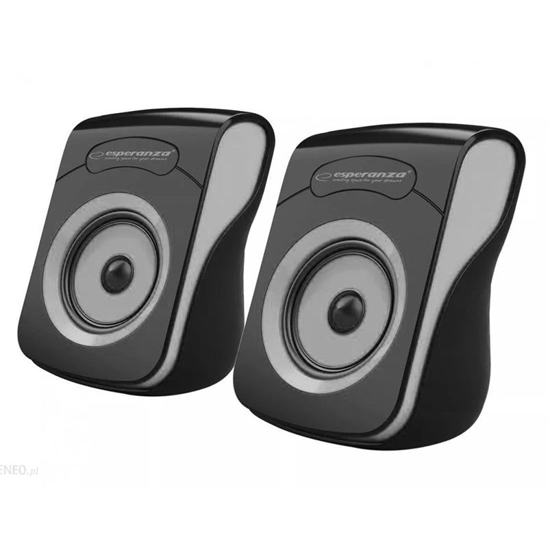 Boxe stereo 2.0 Flamenco Esperanza, 2 x 3 W, 4 oHm, iesire USB, Negru/Gri 2021 shopu.ro