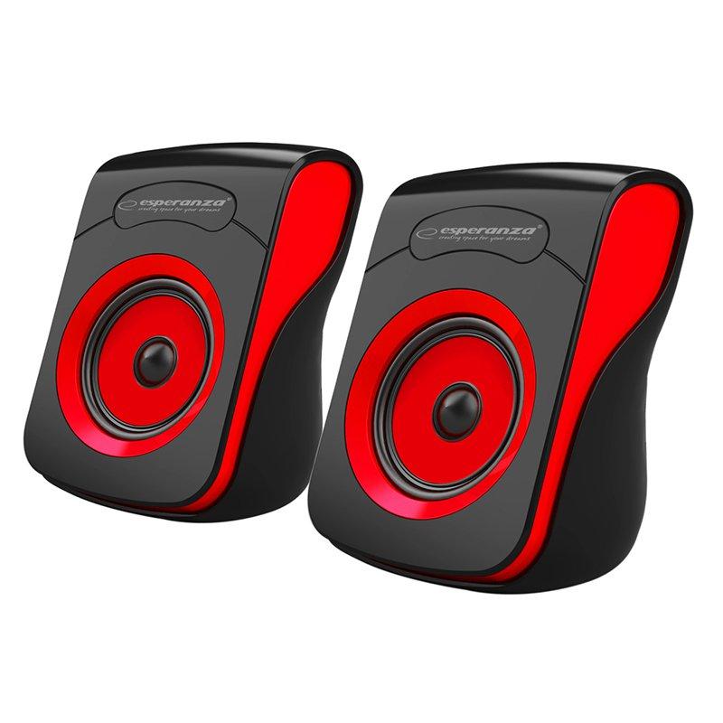 Boxe stereo 2.0 Flamenco Esperanza, 20 Hz-18 kHz, 74 x 105 x 60 mm, iesire USB, Negru/Rosu 2021 shopu.ro