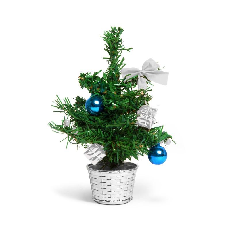 Brad artificial Family Pound, 30 cm, PVC, ornamente incluse, Verde/Argintiu shopu.ro