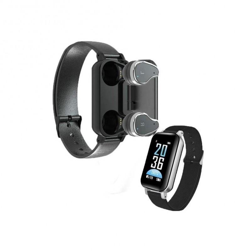 Bratara fitness 2 in 1 Siegbert, bluetooth 5.0, 130 mAh, ecran TFT, casti wireless incluse, rezistenta la apa, Negru 2021 shopu.ro