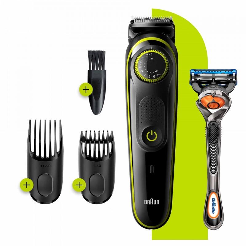 Aparat de tuns barba Braun, 39 setari, buton rotativ, aparat de ras Gillette Fusion5 ProGlide inclus, Negru/Verde 2021 shopu.ro