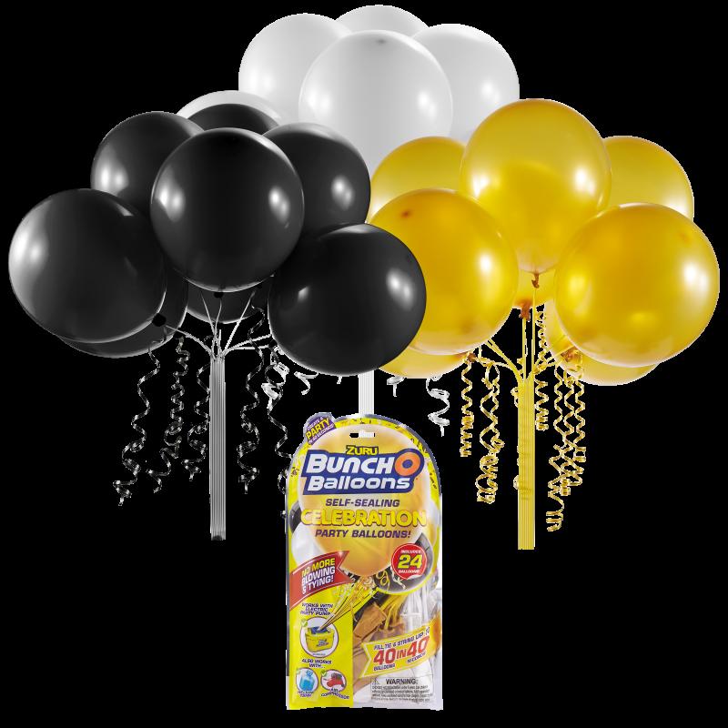 Set baloane Bunch O Ballons Party, 24 bucati, Negru/Auriu/Alb 2021 shopu.ro