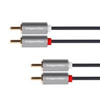 Cablu Kruger&Matz KM1212, 2 x 2 RCA tata, 5 m, Negru