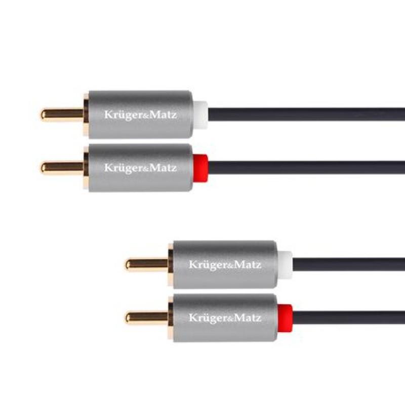 Cablu Kruger&Matz KM1212, 2 x 2 RCA tata, 5 m, Negru 2021 shopu.ro