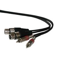 Cablu 2 x RCA tata - 2 x XLR mama, lungime 3 m, Negru