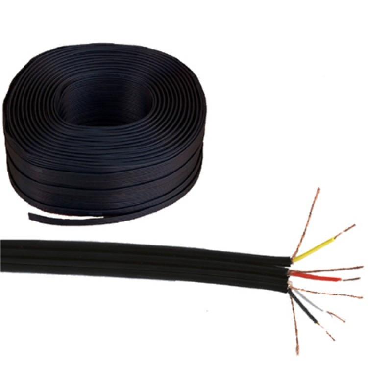 Rola cablu plat 4 x RCA, Negru 2021 shopu.ro