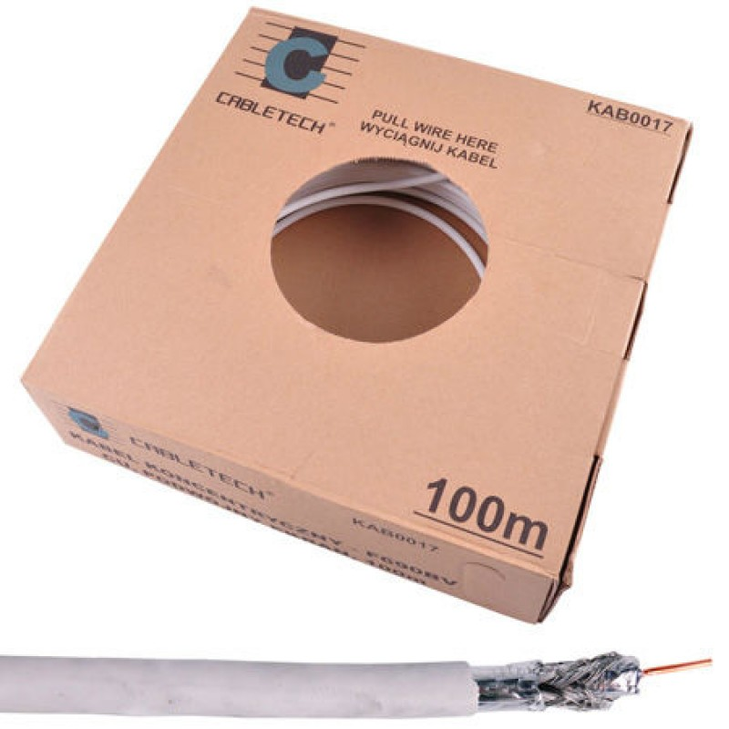 Cablu coaxial Cabletech tri-shield, miez cupru, 100 m 2021 shopu.ro