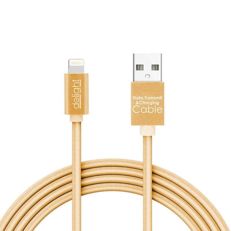 Cablu de date iPhone Delight, 1 A, 1 m, iluminare LED, Auriu 2021 shopu.ro