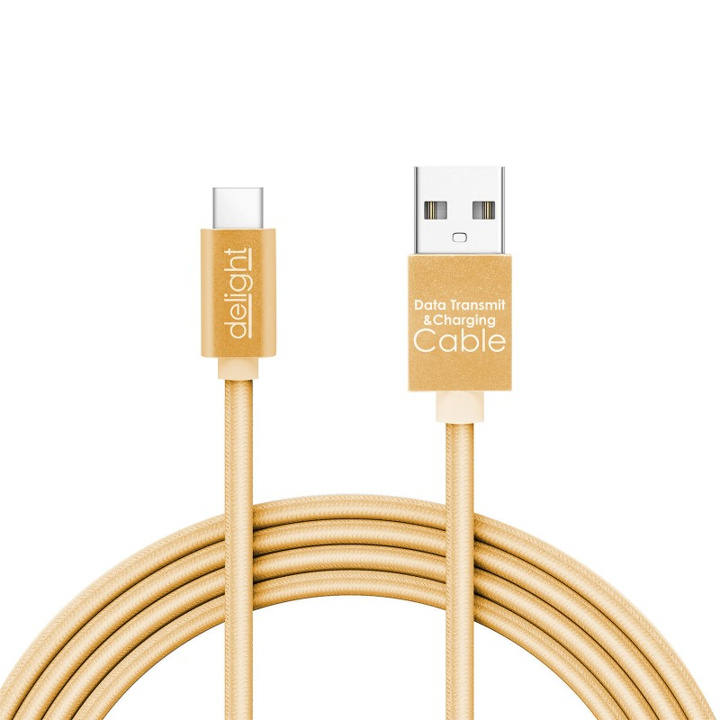 Cablu de date Delight, 2 A, USB Type-C, 1 m, iluminare LED, Auriu 2021 shopu.ro