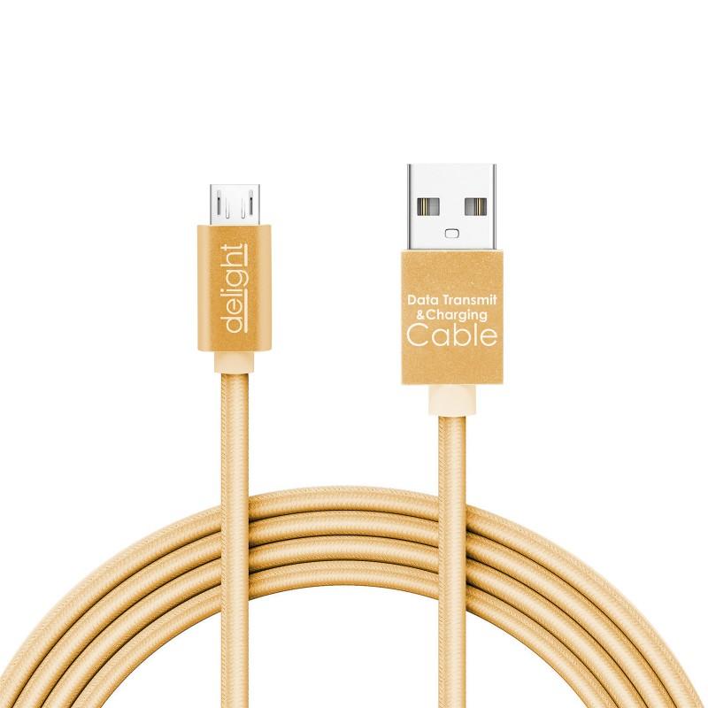 Cablu de date Delight, 2 A, USB MicroUSB, 1 m, LED, Auriu 2021 shopu.ro