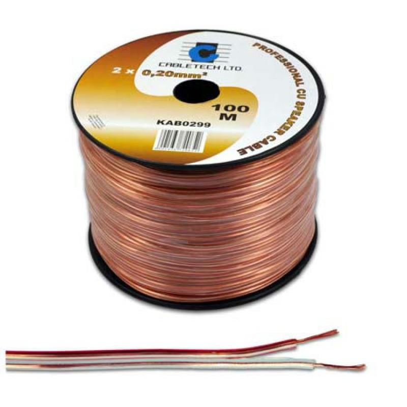 Cablu din cupru pentru difuzor, 2 x 0.35 mm, 100 m, Transparent 2021 shopu.ro