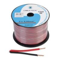 Cablu din CCA pentru difuzor, 2 x 0.20 mm, 100 m, Rosu/Negru