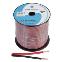 Cablu difuzor Cabletech, CCA, 0.5 mm, rola 100 m, negru/rosu