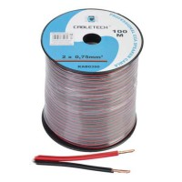 Cablu difuzor Cabletech, CCA, 0.75 mm, rola 100 m, negru/rosu