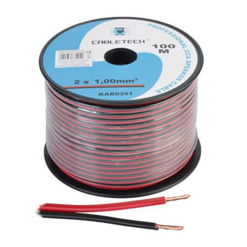 Cablu din CCA pentru difuzor, 2 x 0.10 mm, 100 m, Rosu/Negru 2021 shopu.ro