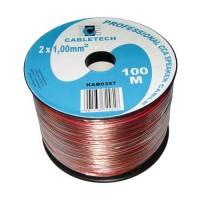 Cablu din CCA pentru difuzor, 2 x 1 mm, 100 m, Transparent