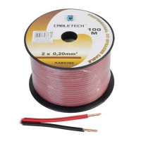 Cablu difuzor Cabletech, cupru, 0.2 mm, rola 100 m, negru/rosu