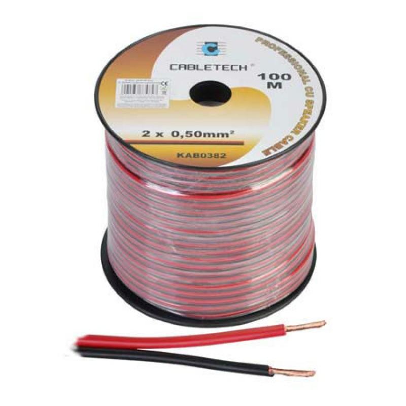Cablu difuzor Cabletech, 0.5 mm, rola 100 m, negru/rosu 2021 shopu.ro