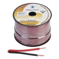 Cablu din cupru pentru difuzor, 2 x 1 mm, 100 m, Rosu/Negru