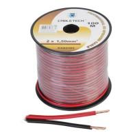 Cablu difuzor Cabletech, cupru, 1.5 mm, rola 100 m, negru/rosu