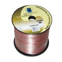 Cablu din OFC pentru difuzor, 2 x 2.5 mm, 100 m, Transparent