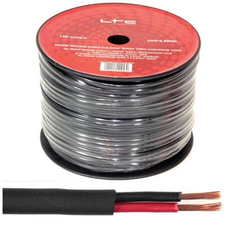 Cablu difuzor rotund, 2 x 2.5 mm, 100 m, Negru