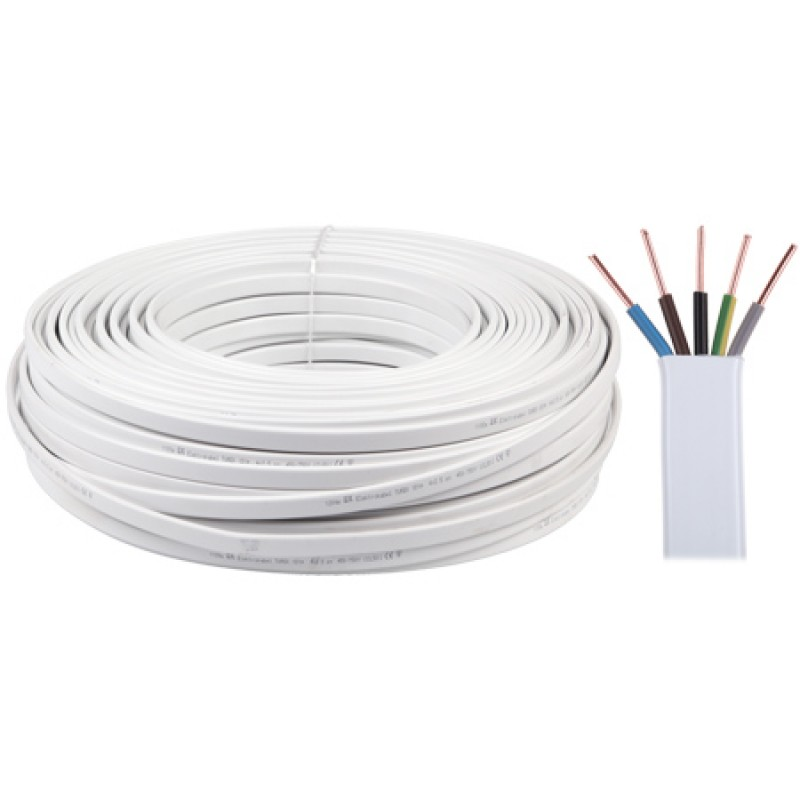 Cablu electric plat YDYP, 5 x 2.5 mm, 450/750V, 100 m, Alb 2021 shopu.ro