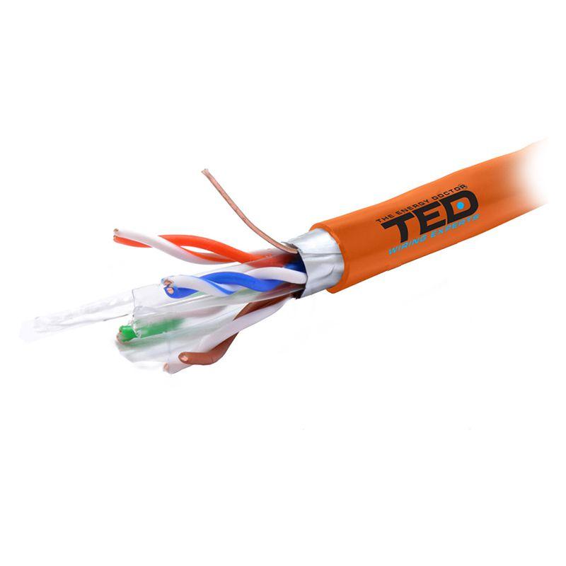 Cablu FTP Ted Electric LSZH, categoria 6, cupru, 0.56 mm, 305 m