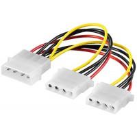 Cablu alimentare Goobay, HDD/5.25 inch tata, 2 x HDD/5.25 inch mama, 16 cm, Multicolor