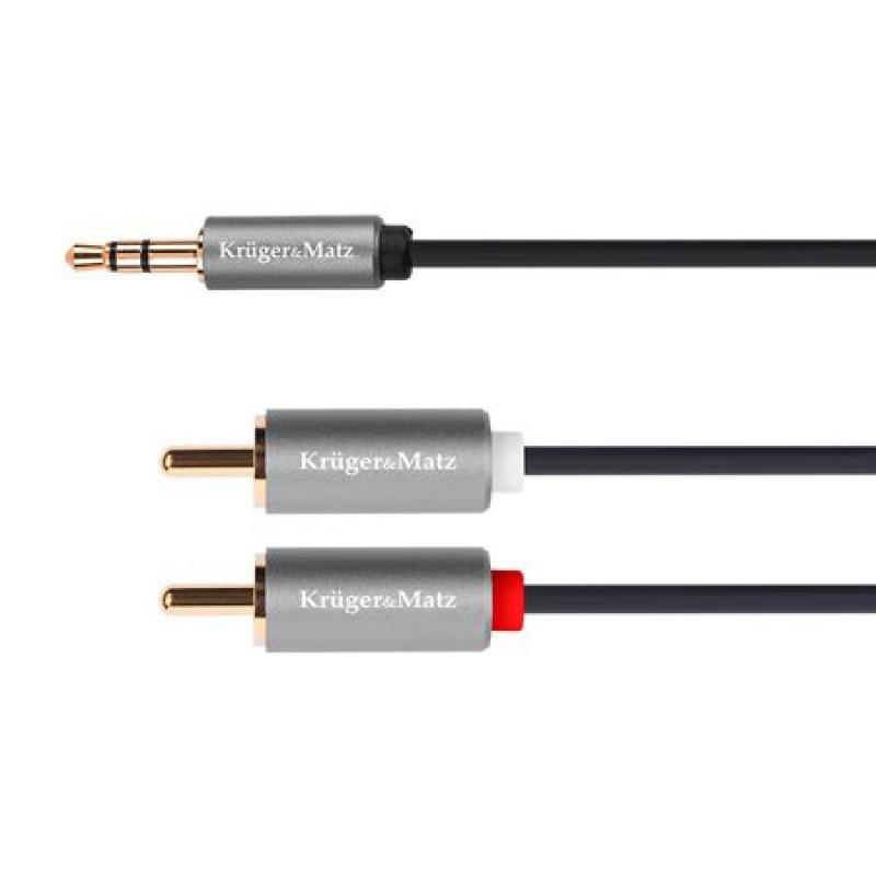 Cablu Kruger&Matz KM1214, 1 x jack stereo - 2 x RCA, 1.8 m, Negru 2021 shopu.ro