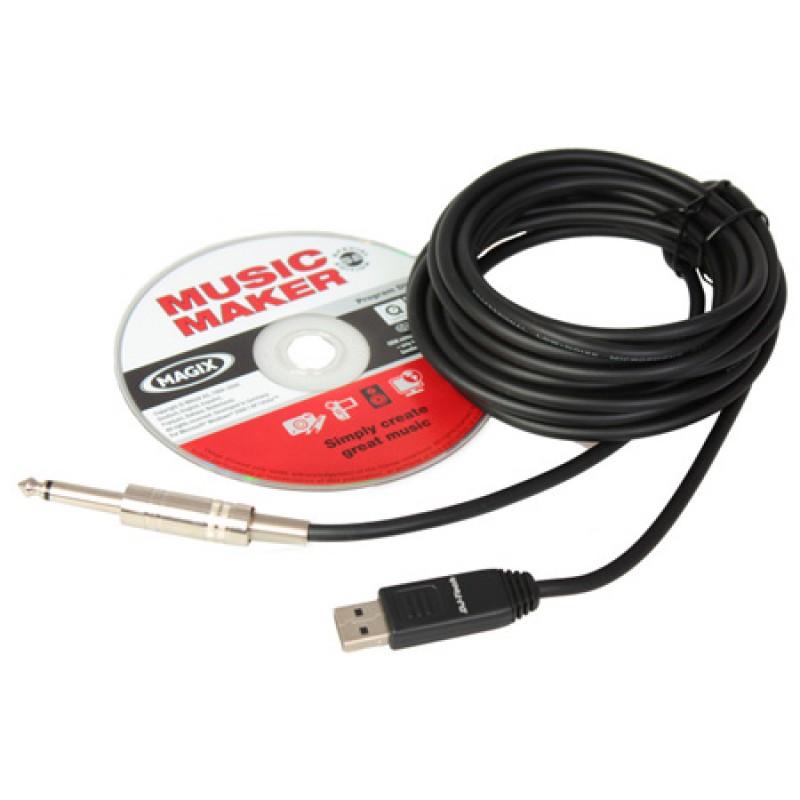 Cablu Jack Mono to USB, placa de sunet inclusa, lungime 5 m 2021 shopu.ro