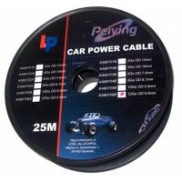 Cablu de putere din cupru 12GA, 3.31 x 4.5 mm, 25 m, Rosu