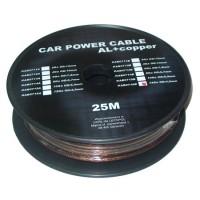 Cablu de putere din aluminiu + cupru 4GA, 3.31 x 4.5 mm, 25 m, Negru