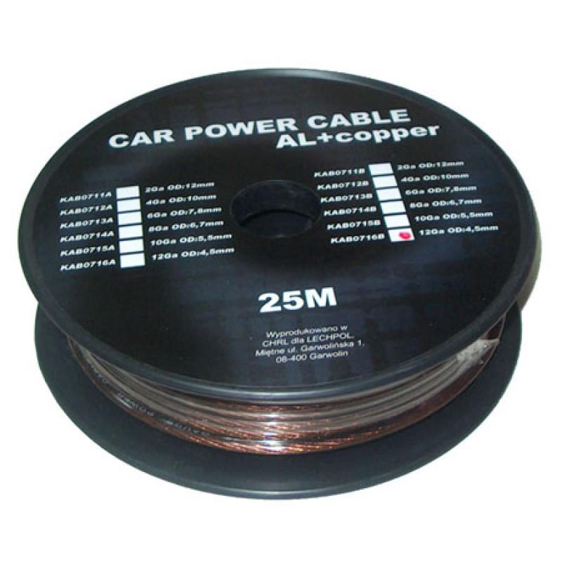 Cablu de putere din aluminiu + cupru 4GA, 3.31 x 4.5 mm, 25 m, Negru 2021 shopu.ro