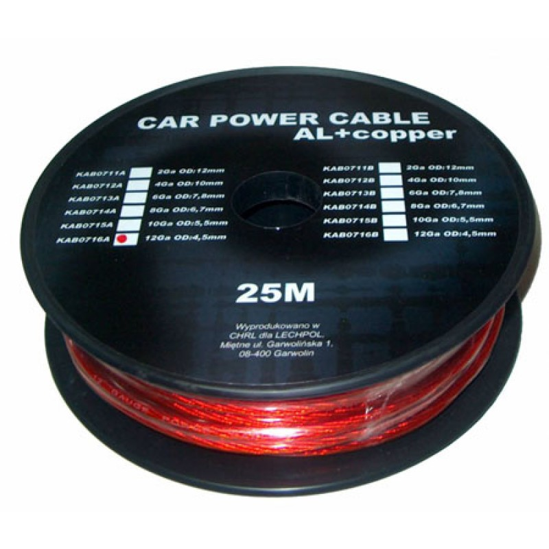 Cablu de putere din aluminiu + cupru 12GA, 4.5 x 3.31 mm, 25 m, Rosu