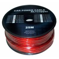 Cablu de putere din aluminiu + cupru 4GA, 6.7 x 8.31 mm, 25 m, Rosu