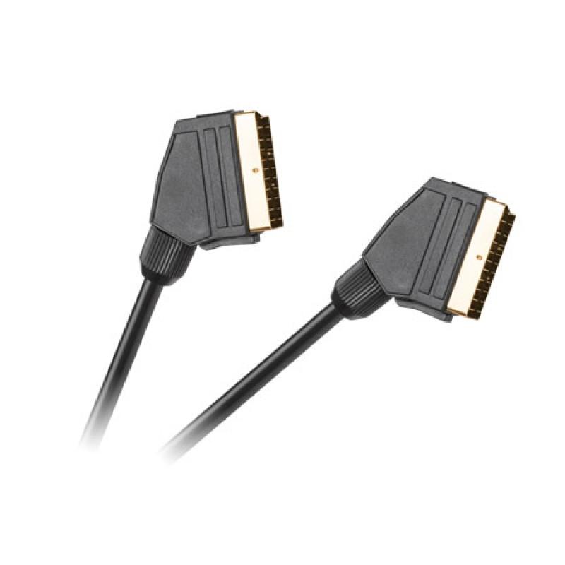 Cablu video dublu ecranat Hq, Scart - Scart 21 pini, 3 m, Negru 2021 shopu.ro