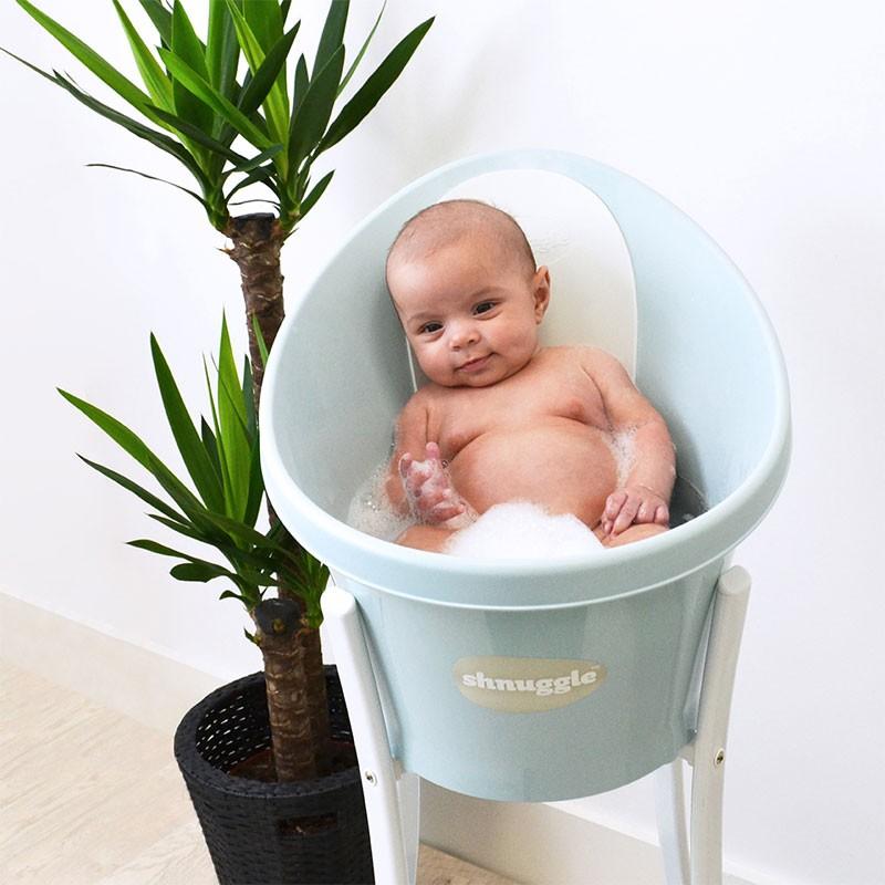 Cadita bebelusi cu protectie spate Aqua Shnuggle, Bleu