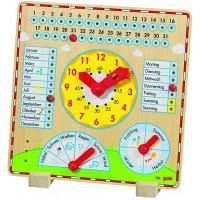 Joc educativ Calendar cu ceas Goki, 35 x 35 cm, limba germana, 3 ani+