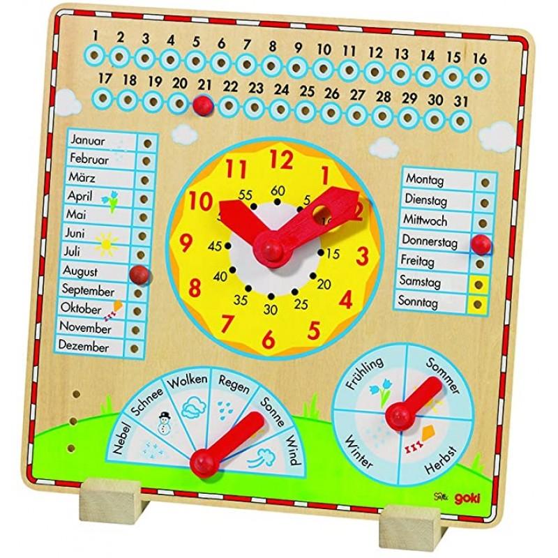 Joc educativ Calendar cu ceas Goki, 35 x 35 cm, limba germana, 3 ani+ 2021 shopu.ro
